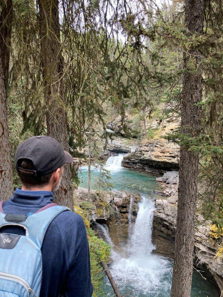 Two level waterfall on one of the best easy hikes Canmore offers