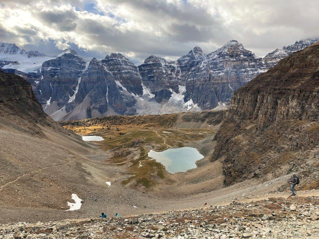 Looking from Sentinel Pass over Larch Valley and two lakes