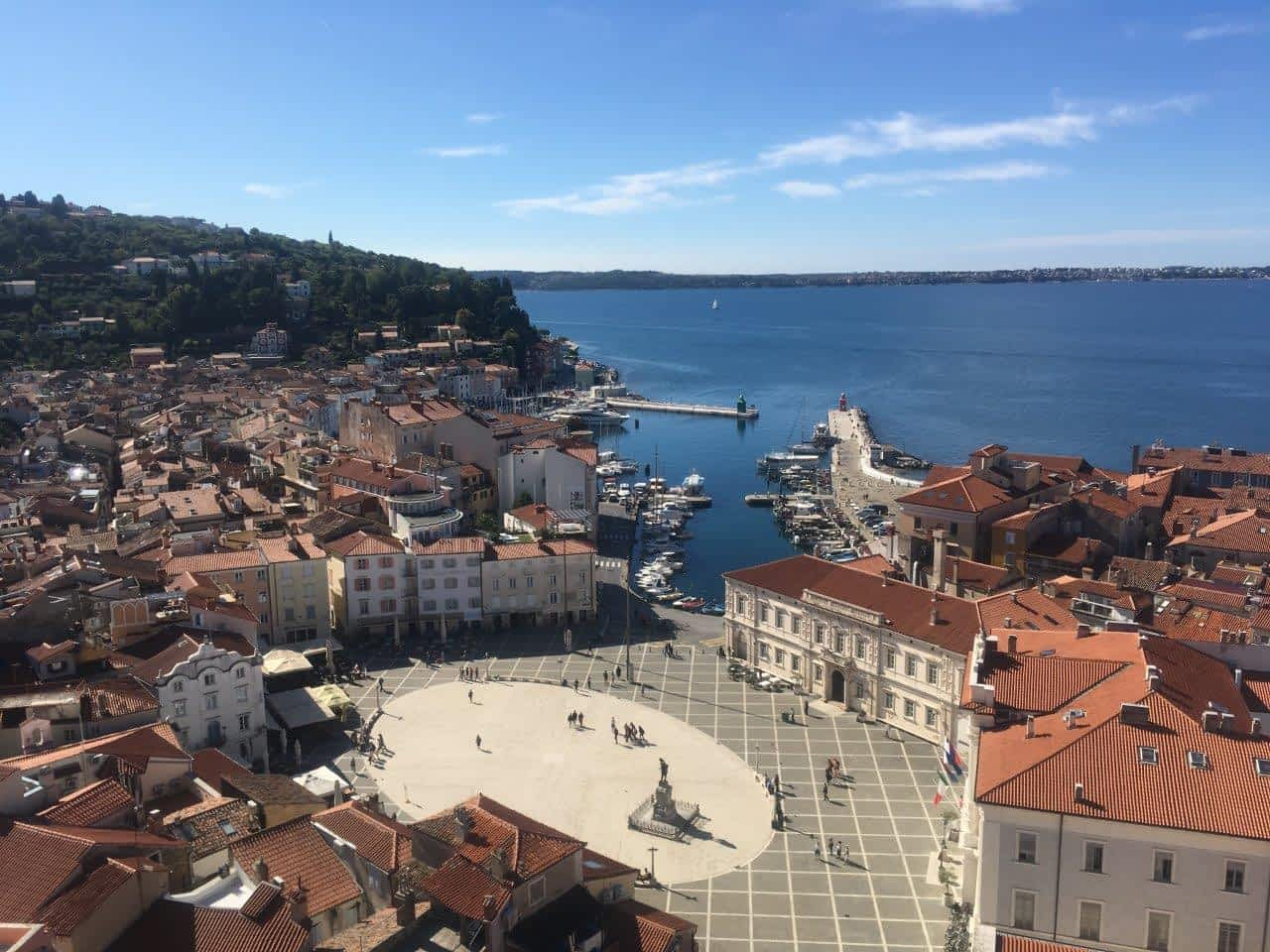View of Tartini Square in Piran from the Bell Tower