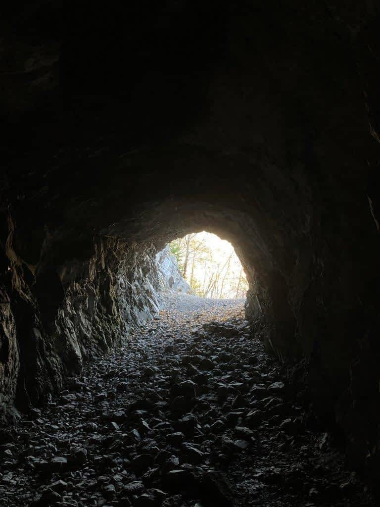 Entrance to a tunnel from the inside