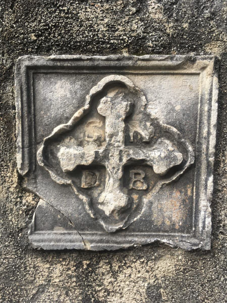 Carved cross at the Church of Our Lady of Remedy, Kotor