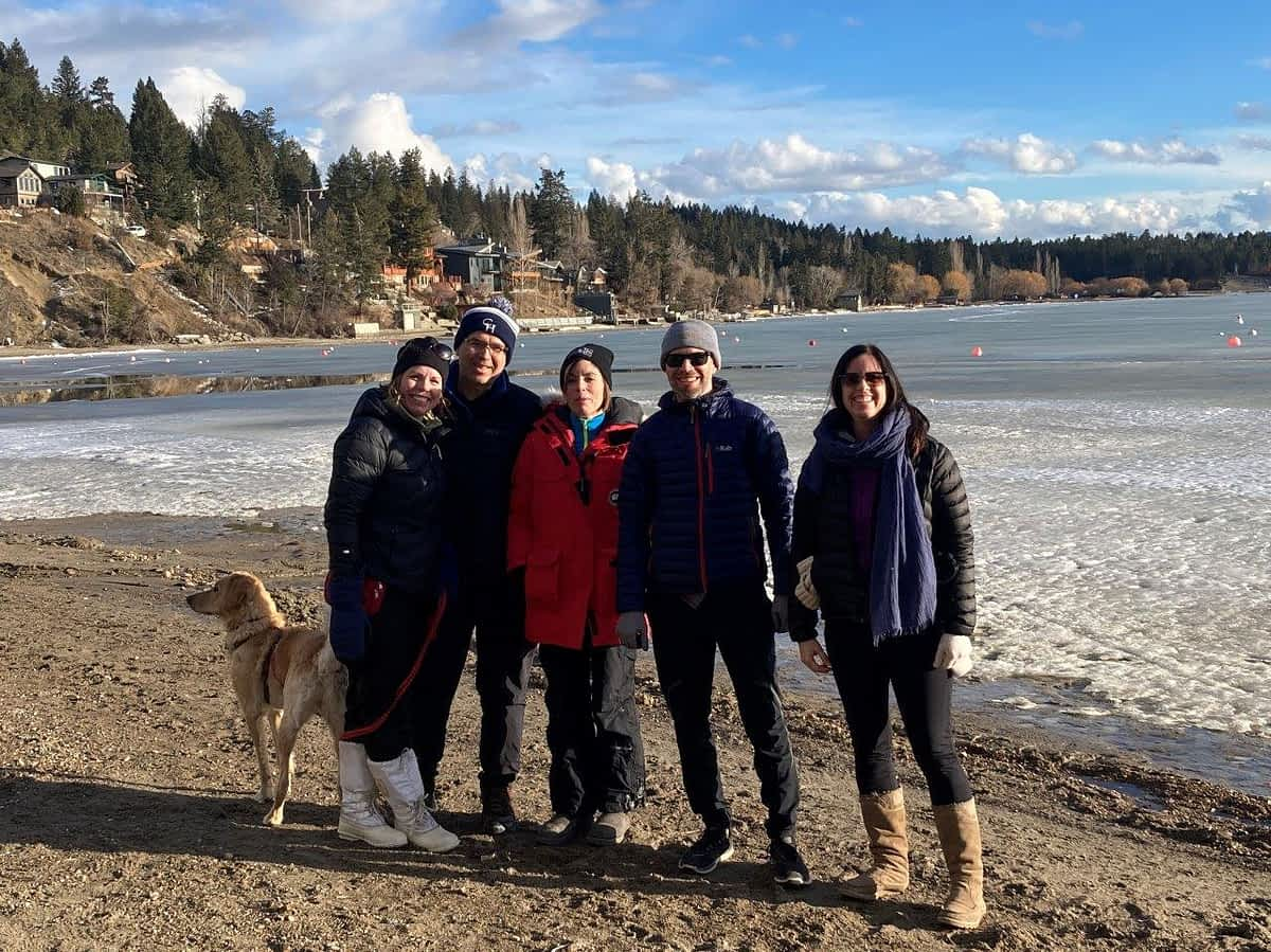 Group of friends on Baltac Beach in Invermere BC