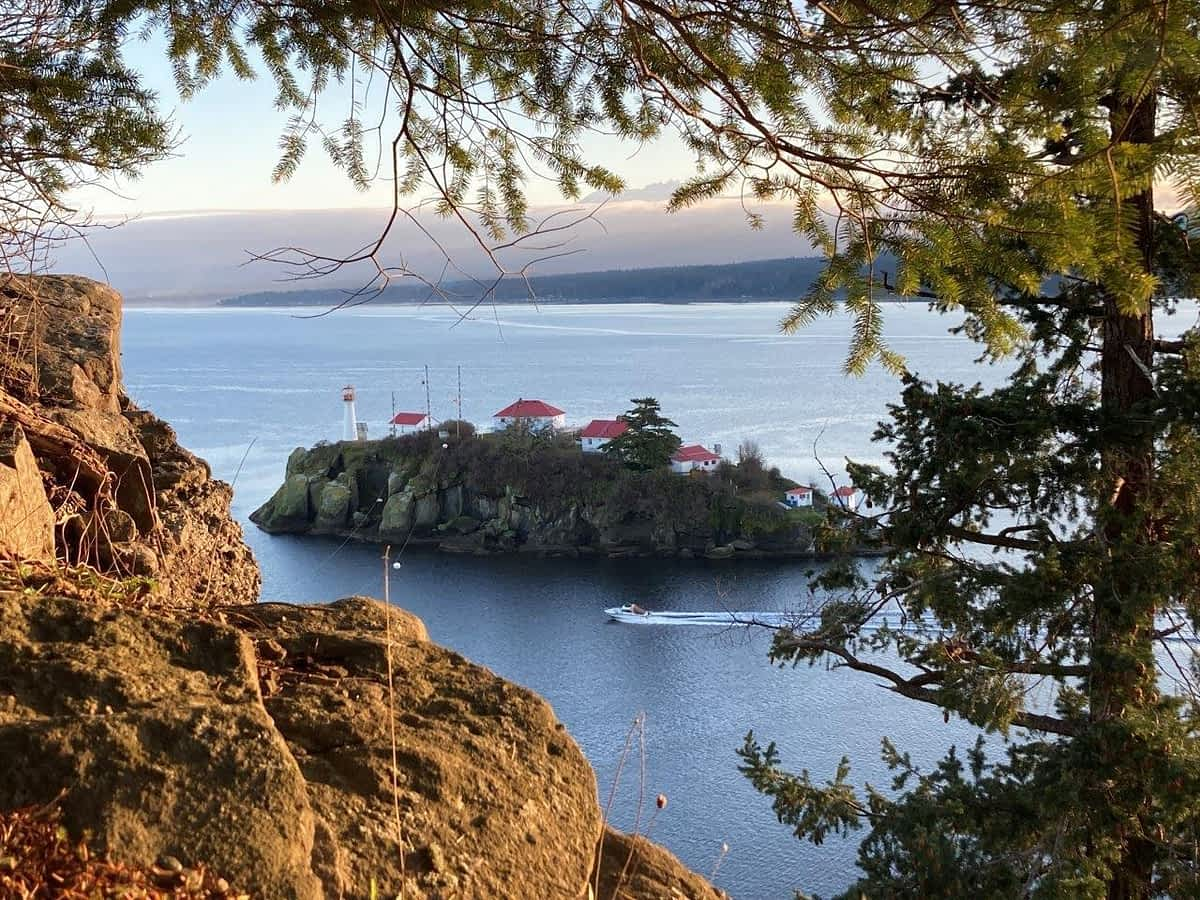 View of Chrome Island from Boyle Point Denman Island BC